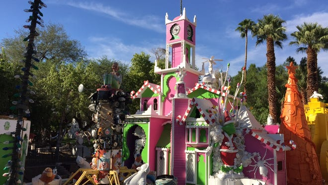 Candy Cane Palace sculpture by Palm Springs artist Kenny Irwin Jr.