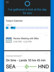 A screenshot of the app Cortana for iOS and Android.