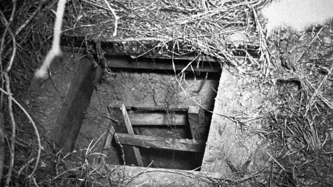 The exit of an escape tunnel from the Papago Park POW Camp, as pictured in December 1944.