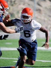 UTEP linebacker Dylan Parsee applies the defensive pressure during a practice in August 2017 at Glory Field.