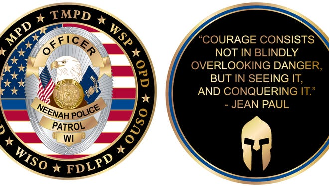 Neenah police commissioned 300 challenge coins in remembrance of the Dec. 5 standoff and deadly shooting at Eagle Nation Cycles.