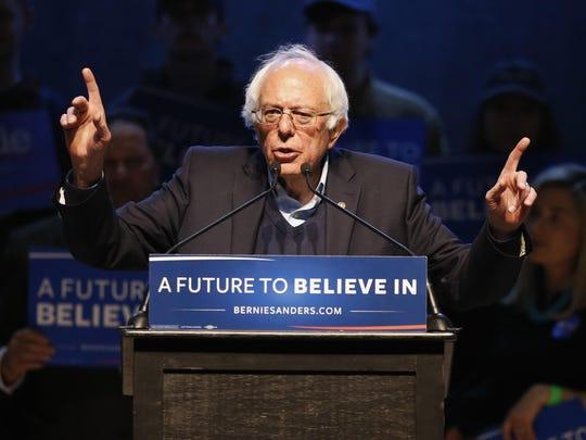 Democratic presidential candidate U.S. Sen. Bernie Sanders speaks at a campaign stop in Portland, Maine.