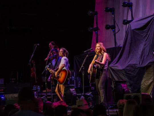 Maddie and Tae open for Brad Paisley at Ak-Chin Pavilion Thursday, June 2, 2016, in Phoenix.