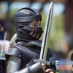 Miller Selland portrays the Black Knight at Gulf Breeze Elementary School's Medieval Fest 2016 Friday morning May 6, 2016.