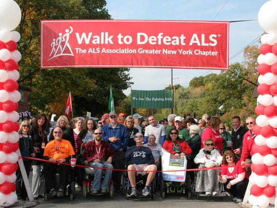 Participants line up at the start of the Hudson Valley ALS Walk on the Walkway Over the Hudson in 2016.
