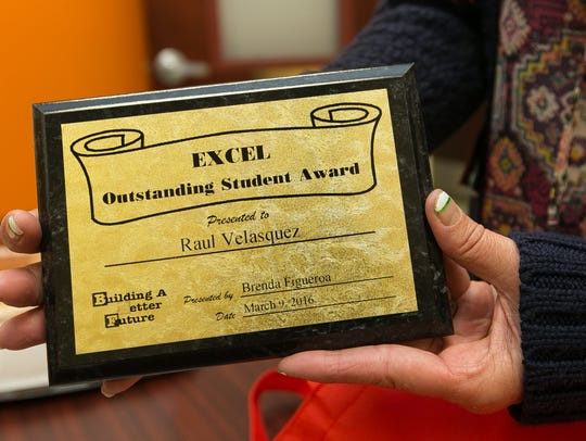 Pictured its the EXCEL Outstanding Student Award given