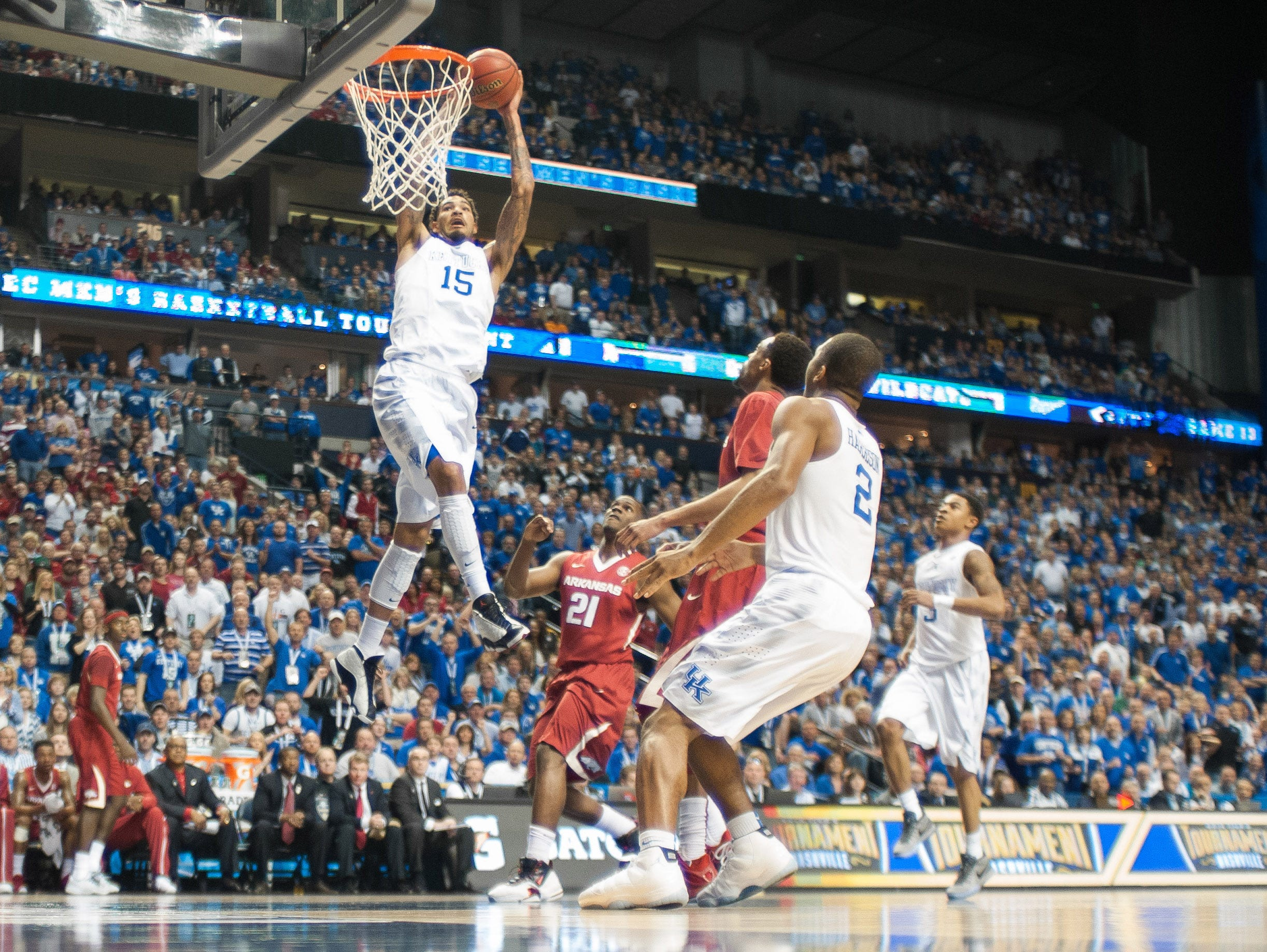 Kentucky Wildcats forward Willie Cauley-Stein (15) dunks the ball during the first half of the SEC Conference championship game at Bridgestone Arena. Kentucky Wildcats defeated Arkansas Razorbacks 78-63.