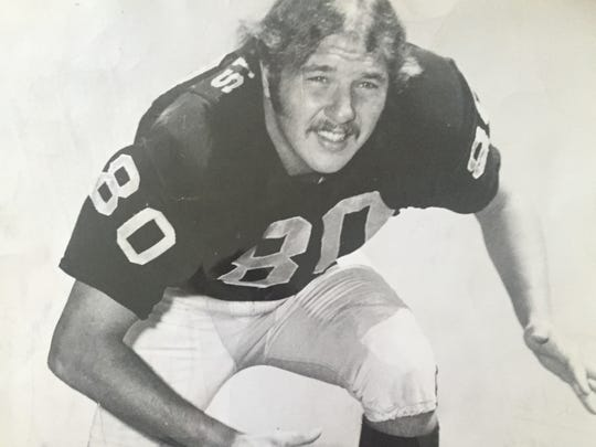 Former Brick standout Art Thoms shown during his days playing with the Oakland Raiders in the early 1970s.