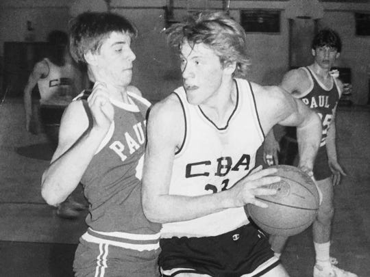 CBA's Joe Paterno drives against a Pope Paul VI defender in the 1984 South Jersey Non-Public A championship game.