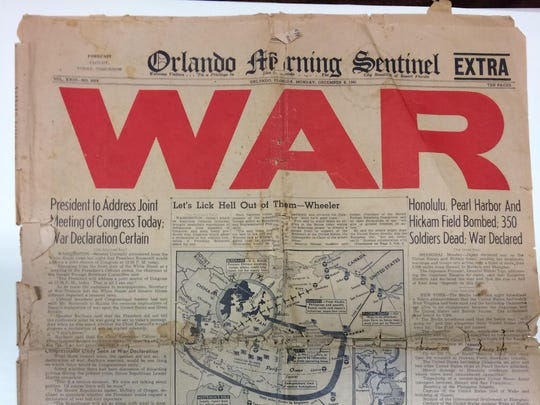 The front page of the Monday, December 8, 1941 Orlando