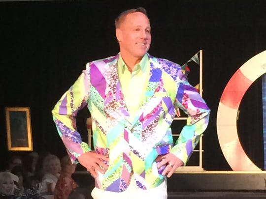 Palm Springs Mayor Steve Pougnet sports a colorful jacket during the Palm Springs Woman's Club fashion show.