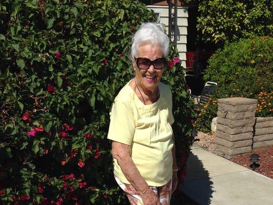 Coachella Valley resident Winnie Camp, born in 1915, strikes a pose.