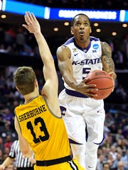 Kansas State Wildcats guard Barry Brown (5) shoots