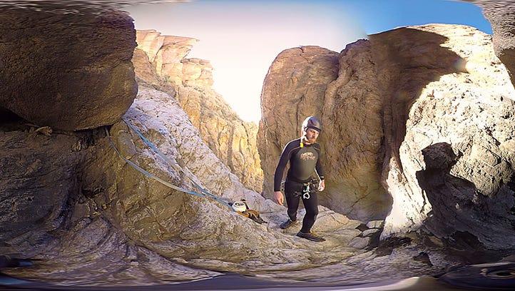 Deep in a desert slot canyon, a virtual reality shoot