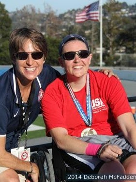 Rachael Morrison is pictured with Erica Wheeler, a U.S. Paralympic throws coach.