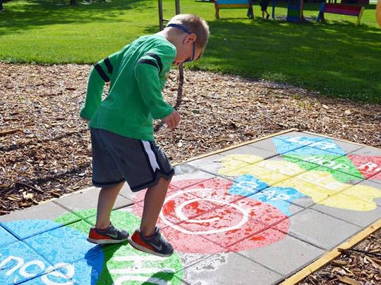 Hopscotch at the new Born Living Trail at Oschwald Park in St. Nazianz.