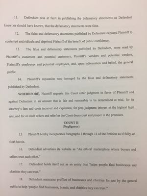 Yten Business Solutions, which does business as Vacations Made Easy, sued the Better Business Bureau and a former employee who left a negative Google review. The image is of a page from the lawsuit against BBB.