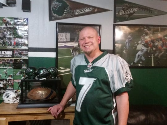 Green Bay Blizzard season-ticket holder Travis Hammer has a room at his home in Sheboygan decked in memorabilia from the franchise.