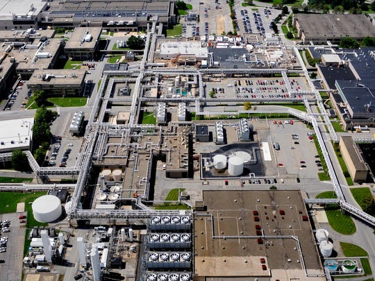 This aerial photo of the IBM East Fishkill complex looks west across the complex.