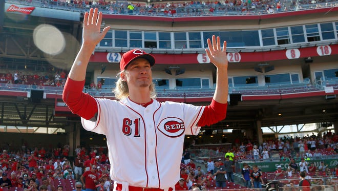 Sep 23, 2017; Cincinnati, OH, USA; Cincinnati Reds starting pitcher Bronson Arroyo walks on the field at the beginning of tribute honoring his career before a game with the Boston Red Sox at Great American Ball Park. Mandatory Credit: David Kohl-USA TODAY Sports