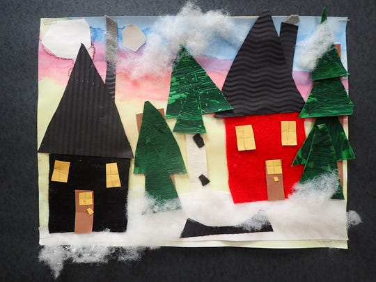 """Winter Texture House Collage"" by Reese, a first-grade student at Southern Door Elementary School."