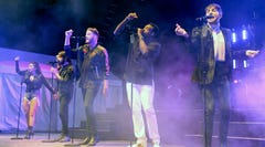 Kirstin Maldonado, Avi Kaplan, Scott Hoying, Kevin Olusola and Mitch Grassi of Pentatonix perform at a sold-out show at the Wisconsin State Fair, Tuesday, Aug. 8.