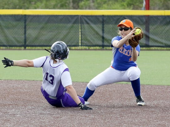 Edison shortstop Haley Maggs catches the ball for the