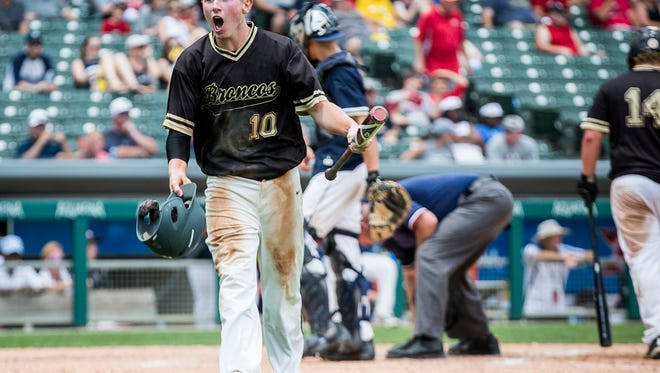 FILE -- Daleville's Max Stecher yells during the Class A State Championship game at Victory Field on Saturday, June 16.