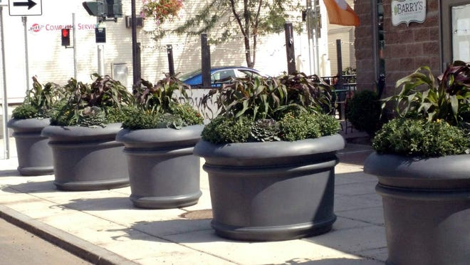 The planters along West Main Street in front of Barry's before they were moved.