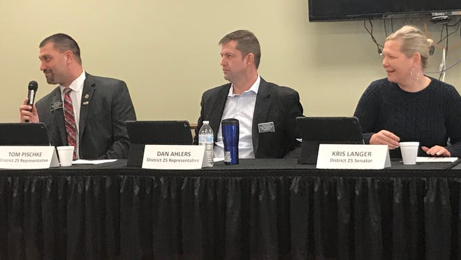 Lawmakers from Legislative District 10 and 25 took questions during an open forum Saturday at Bethany Meadows in Brandon. Pictured are, from left, Reps. Tom Pischke and Dan Ahlers and Sen. Kris Langer.
