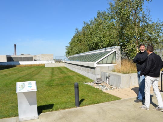 Keith Wagner and Jeff Hodgson of Burlington's WagnerHodgson Landscape Architecture visit Fletcher Allen Health Care's Oncology Green Roof earlier this month.