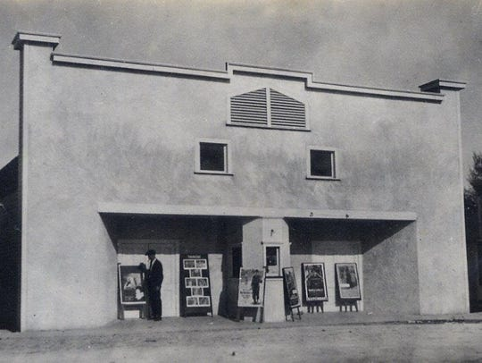 The second Lyric Theatre, built to face the railroad depot.  The date of the photo is 1920.