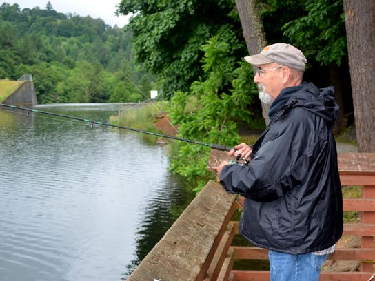 Tom Sparks of Molalla tests the waters at Silverton