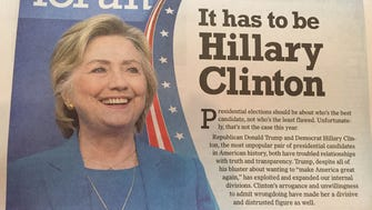 The Enquirer editorial board's endorsement of Hillary Clinton appeared on the Sept. 25 cover of Forum.