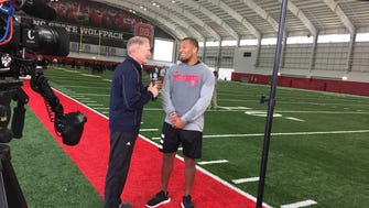 NFL Network draft expert Mike Mayock interviews NC State defensive end Bradley Chubb after Monday's pro day.