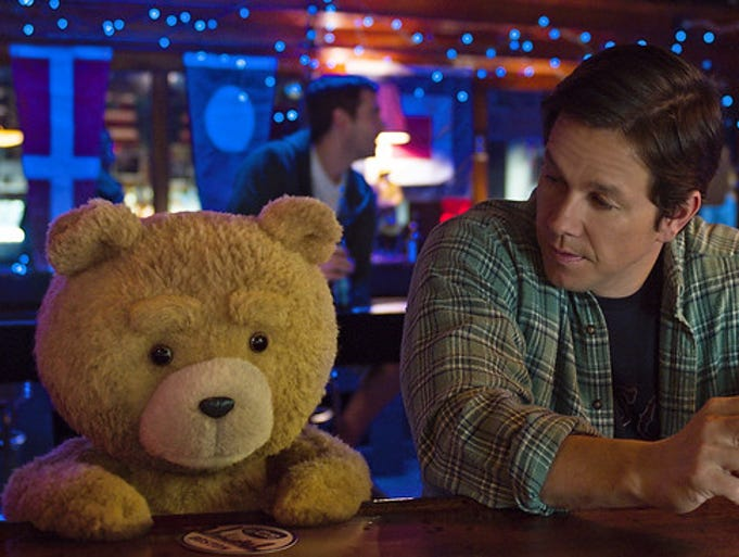 """Ted voiced by Seth MacFarlane and Mark Wahlberg as"