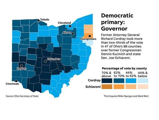 Map: 2018 Ohio Democratic primary governor results