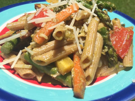 Roasted Vegetable Peso Pasta can be adapted for your favorite vegetables.