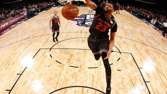 Western Conference forward Anthony Davis of the New Orleans Pelicans (23) slam dunks during the first half of the NBA All-Star basketball game in New Orleans on Sunday.
