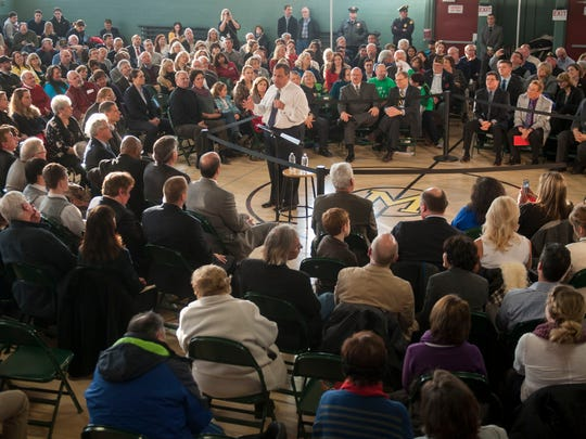 Gov. Chris Christie speaks to the crowd as he holds a town-hall meeting at the Moorestown Recreation Center on Wednesday. 02.25,15