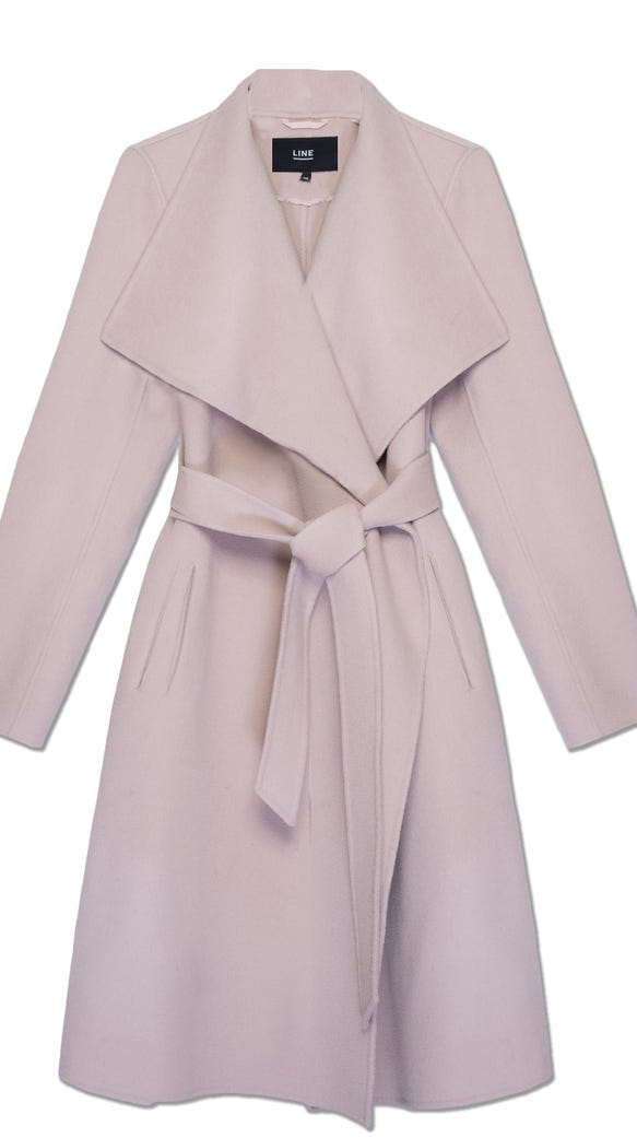 LINE's newly-christened 'Meghan' coat in 'Rose Dust.'
