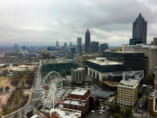 Clouds and wind move through the Atlanta area, Monday,