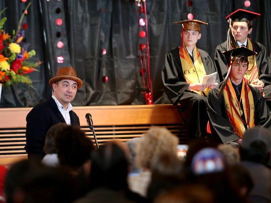 Keynote Speaker Louie Gong at the Chief Kitsap Academy Class of 2018 Commencement at the House of Awakened Culture in Suquamish, Wash.