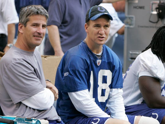 Indianapolis Colts quarterback Peyton Manning, right,