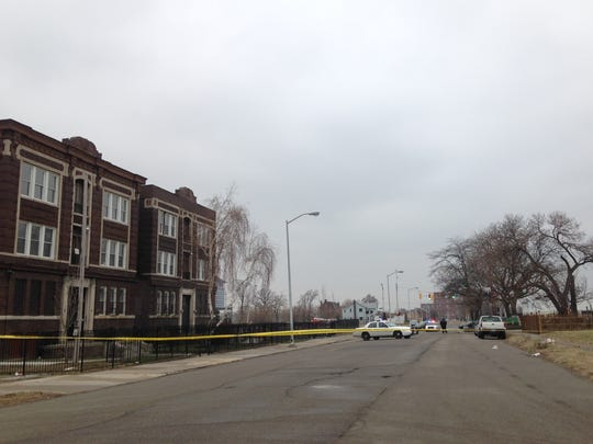 Police have Peterboro blocked between Second and Cass in Detroit on Tuesday, Jan. 26, 2016.