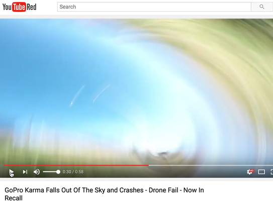 GoPro falling from the skies, as shown by a user on