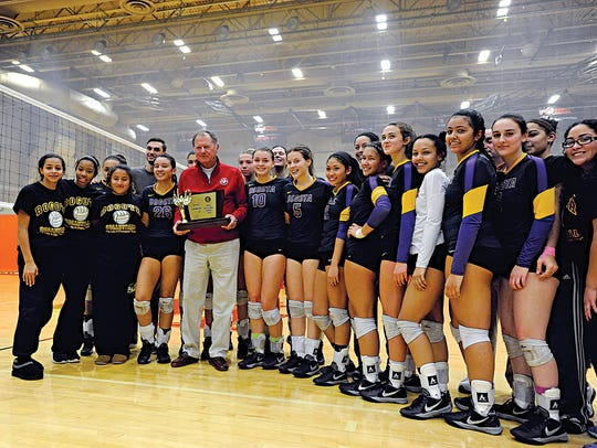 NJSIAA State Volleyball finals. The Bogota Bucs pose