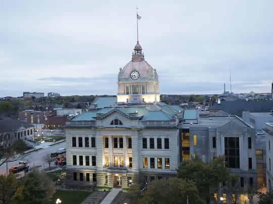 The Brown County Courthouse, with its refurbished rotunda roof glows, under the accent lights. Contractors recently completed a $1.7 renovation of the dome, completing a restoration of the courthouse that began with interior work in the 1990s.