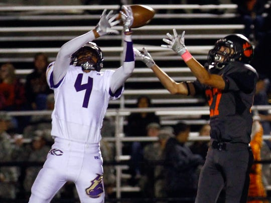 Kirtland Central's Cochise Sorrelhorse breaks up a pass intended for Aztec's Sebastian McNeal on Oct. 7 at Fred Cook Memorial Stadium in Aztec.