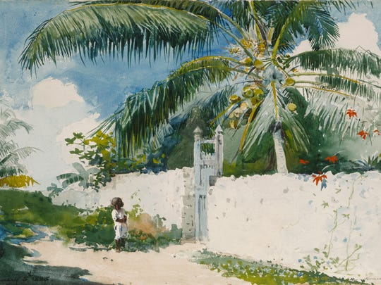 'A Garden in Nassau' is a 1885 painting by Winslow Homer, an American artist (1836-1910). It is a watercolor and opaque watercolor over graphite, with blotting and scraping, on textured cream wove paper, Image: